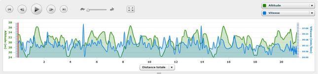 En vert, l'altitude, en bleu, la vitesse.